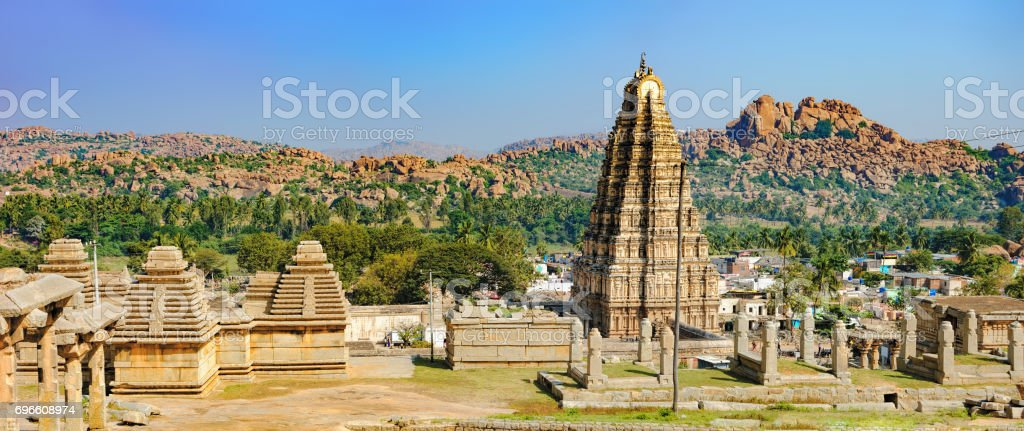 Panorama of Hampi, view of the Virupaksha temple stock photo