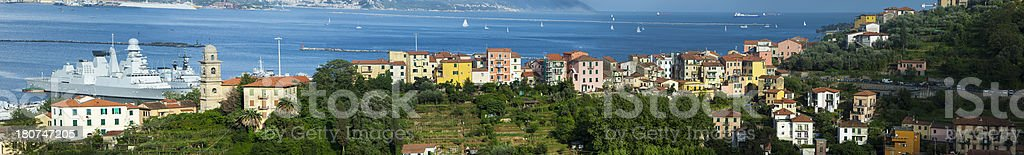 Panorama of Harbor and City La Spezia, Liguria, Italy stock photo