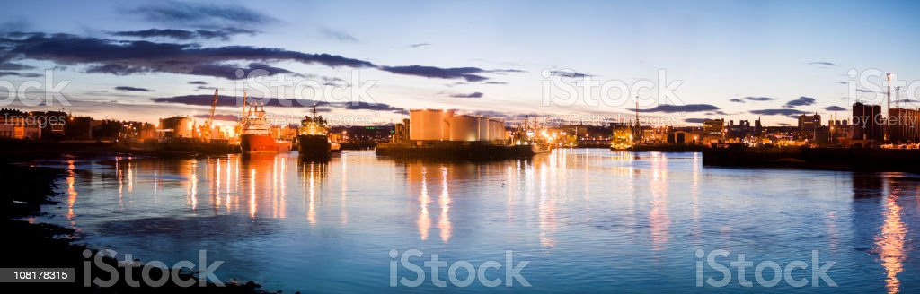 Panorama of Harbour in Aberdeen, Scotland at Dusk royalty-free stock photo