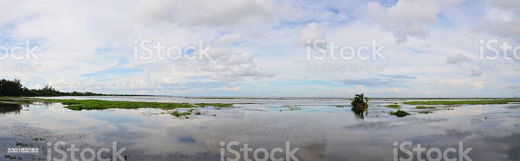 Panorama of Hat Saen Suk Lampam public park stock photo