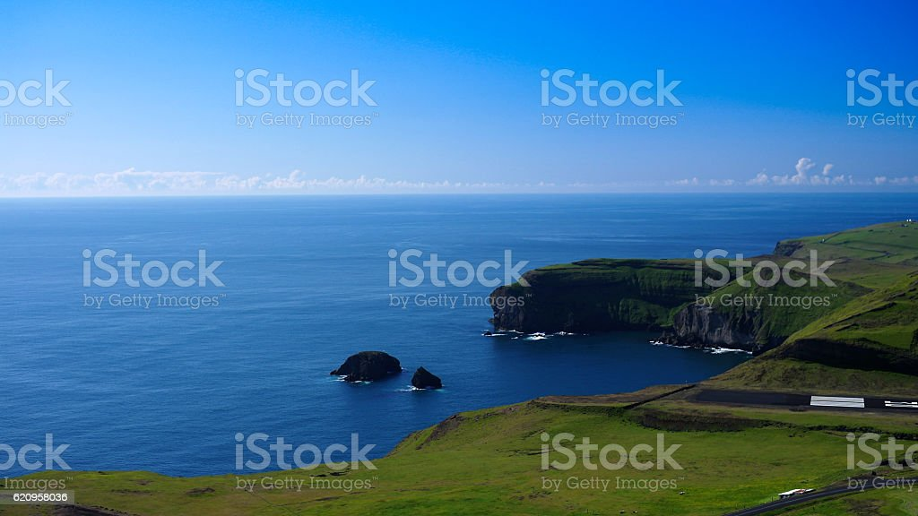Panorama of Heimaey island, Vestmannaeyjar archipelago Iceland stock photo
