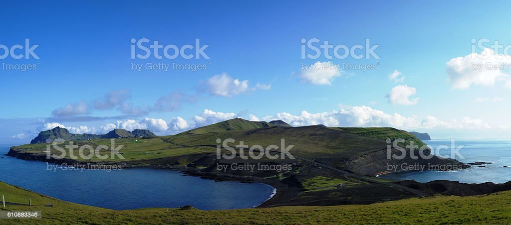 Panorama of Heimaey island, Vestmannaeyjar archipelago stock photo
