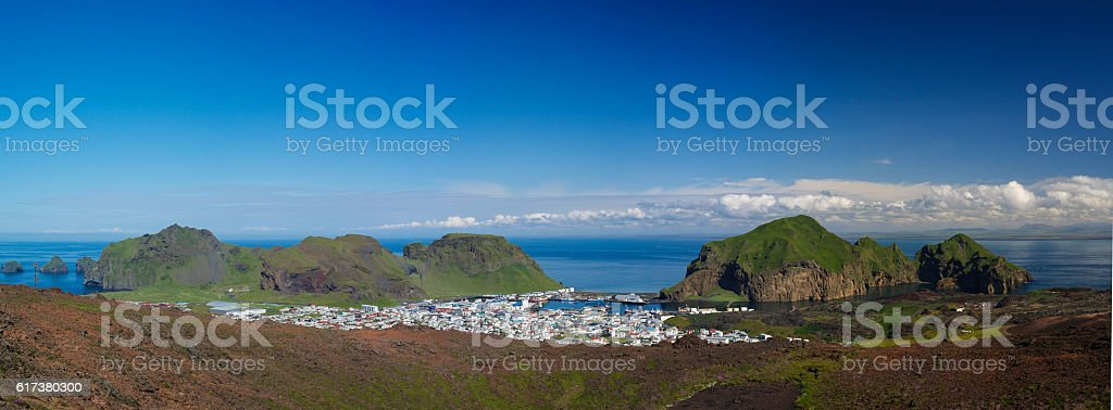 Panorama of Heimaey town, Vestmannaeyjar archipelago Iceland stock photo