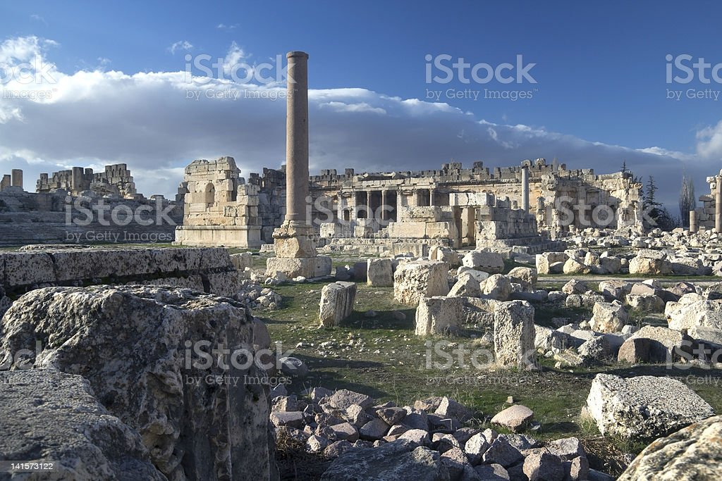 Panorama of Heliopolis (Baalbek), UNESCO archeological site in Lebanon stock photo