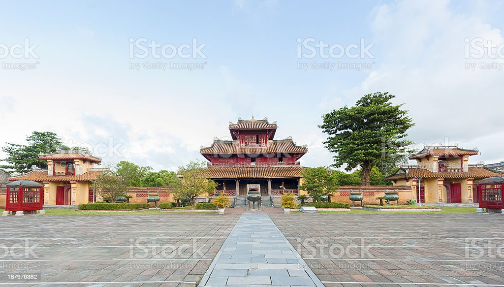 Panorama of Hien Lam Pavilion and nine Dynasty Urns (Dings) stock photo