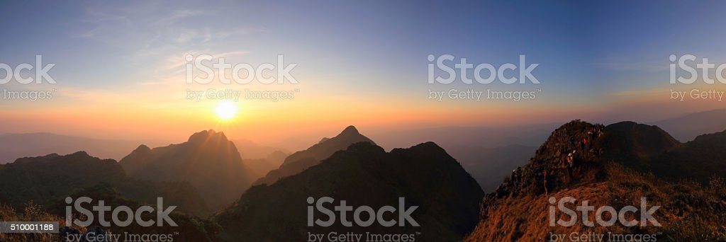 Panorama of high mountain in sunset time stock photo