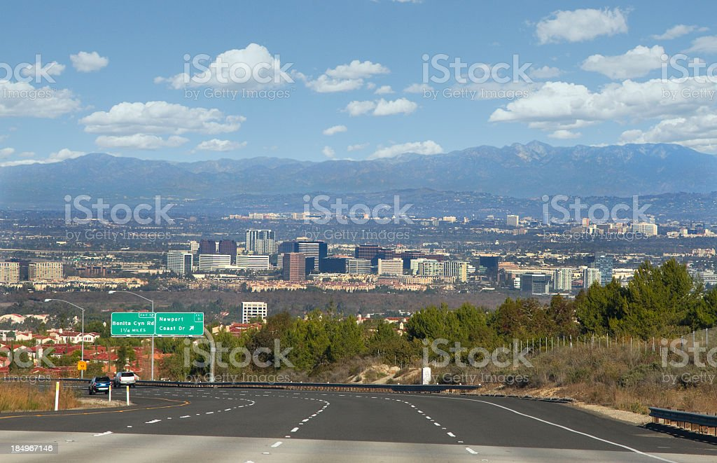 Panorama of highway and city of Orange County, California stock photo