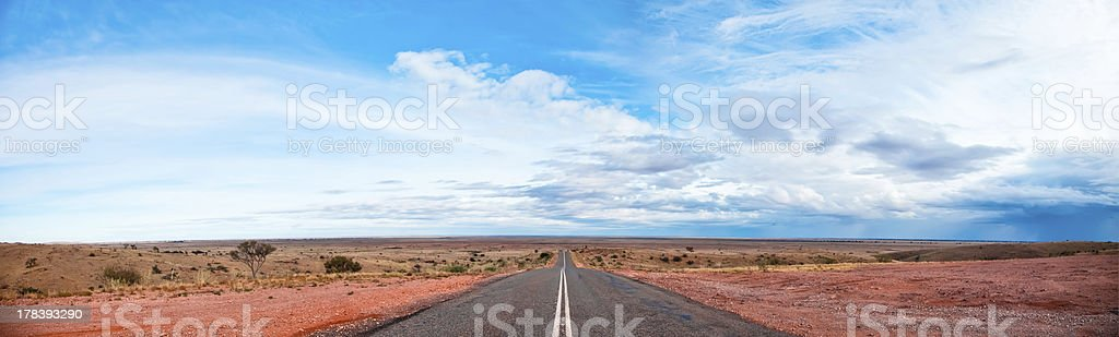 Panorama of Highway in the Outback Australia stock photo