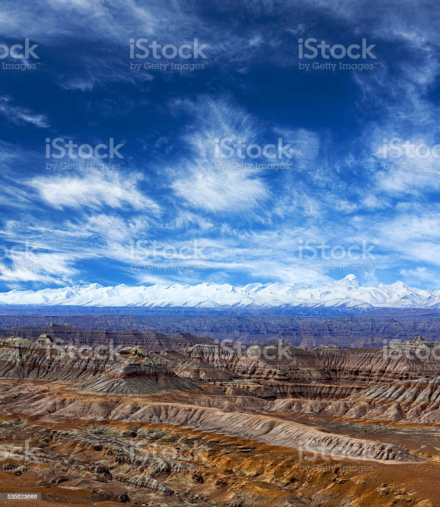Panorama of Himalayas and Earth Forest Geopark in Tibet stock photo