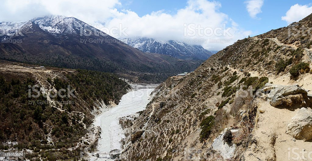 Panorama of Himalayas with Dudh Kosi river,eastern Nepal royalty-free stock photo
