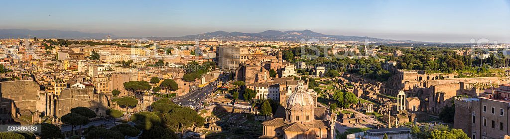 Panorama of historic center of Rome, Italy royalty-free stock photo