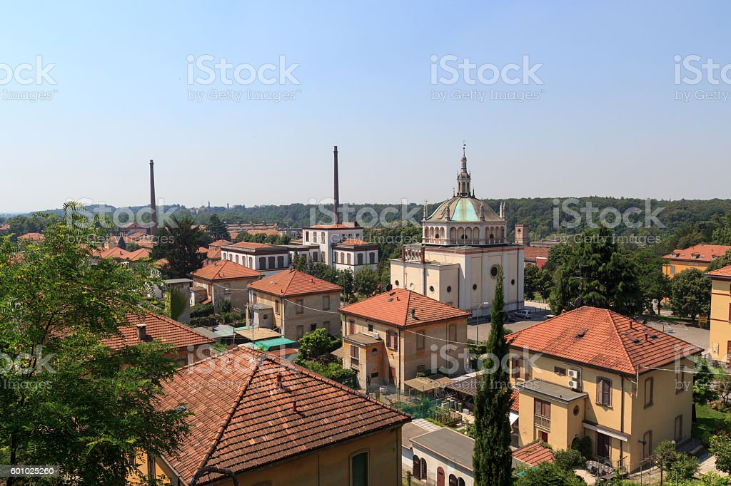 Panorama of historic industrial town Crespi d'Adda, Lombardy, Italy stock photo