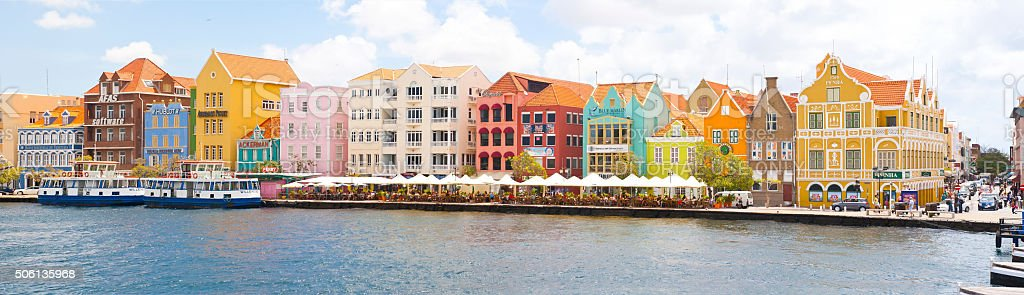 Panorama of Historic Punda Downton Willemstad Curacao stock photo