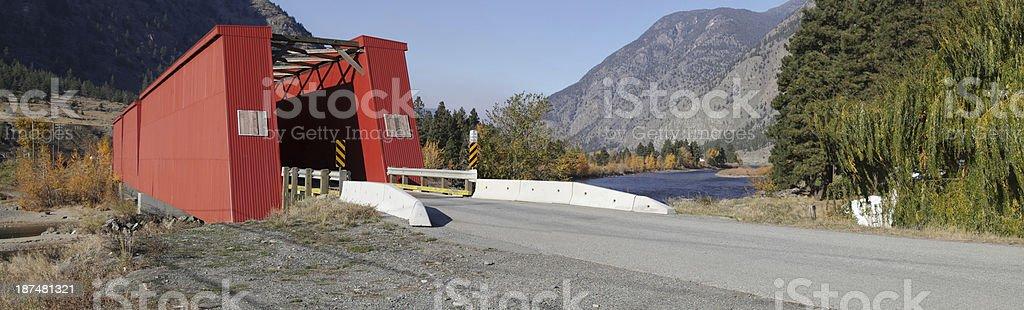 Panorama of Historic Red Bridge at Keremeos, B.C., Canada. stock photo
