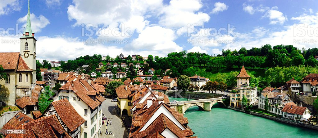 panorama of historical old town city Bern stock photo