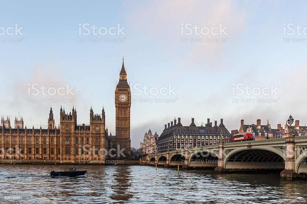 Panorama of Houses of Parliament in winter morning, London stock photo