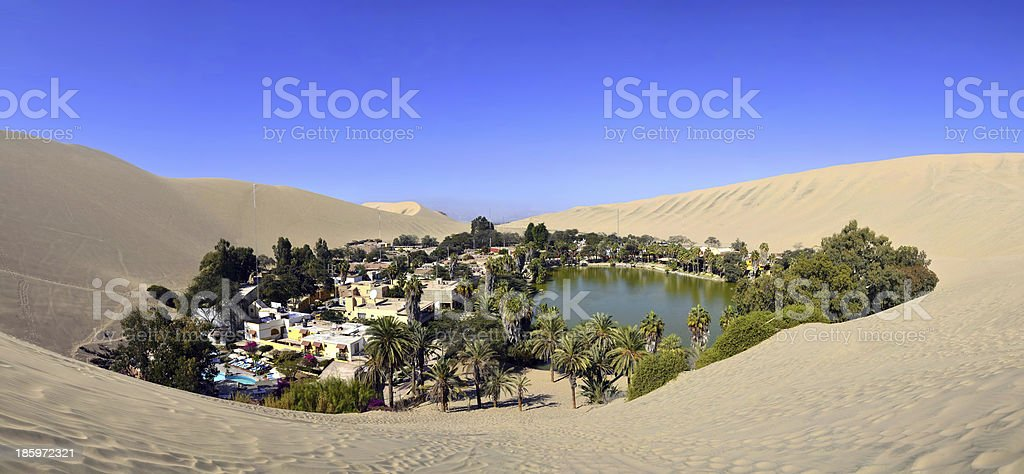 Panorama of Huacachina Oasis near Ica Peru stock photo
