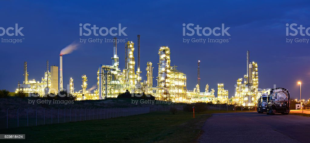 Panorama of Industrial Plant at Night, Refinery and Paper Factory stock photo