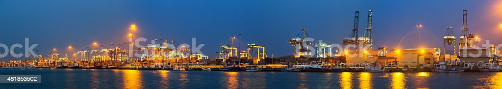 Panorama of Industrial port of Algeciras stock photo