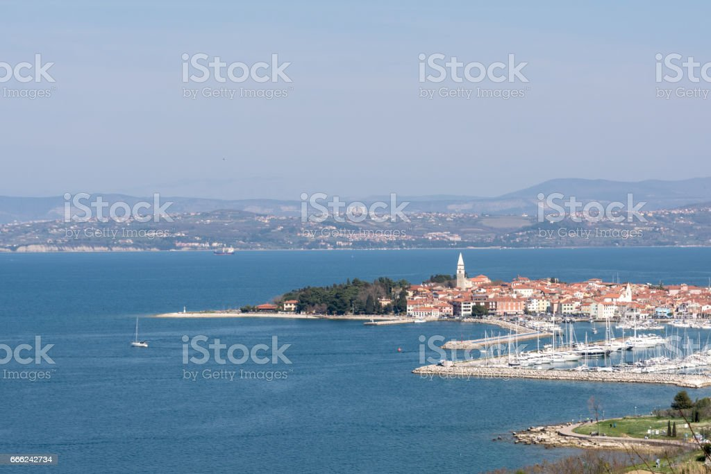 panorama of Izola in Slovenia stock photo