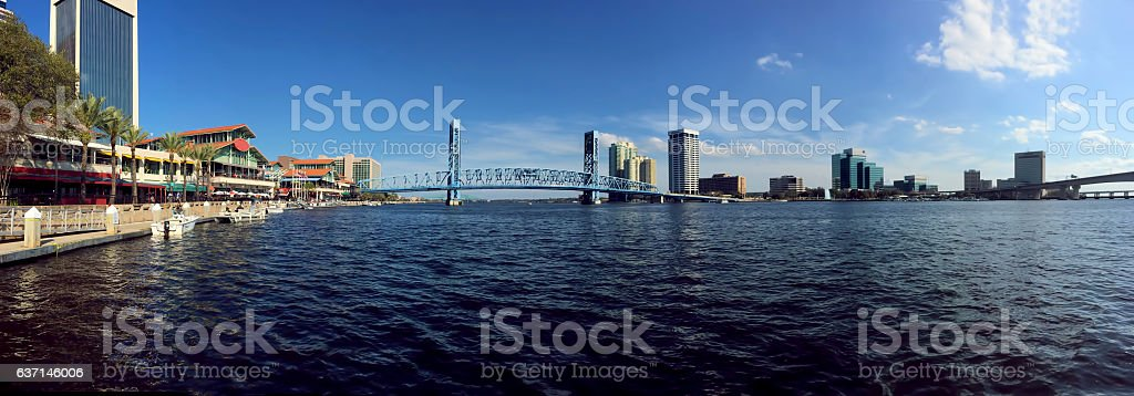 Panorama of Jacksonville and the St. Johns River stock photo