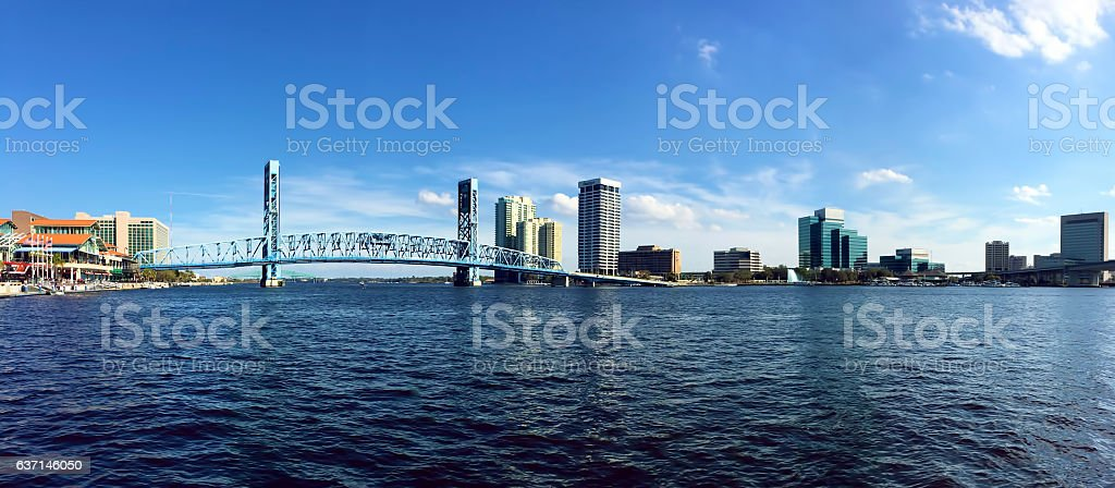 Panorama of Jacksonville, Florida and the St. Johns River stock photo