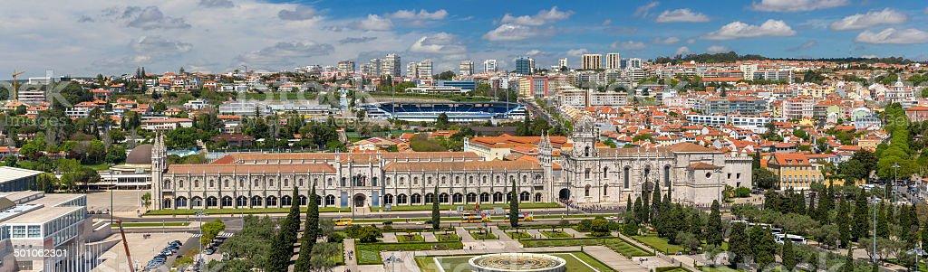 Panorama of Jeronimos Monastery in Lisbon, Portugal stock photo