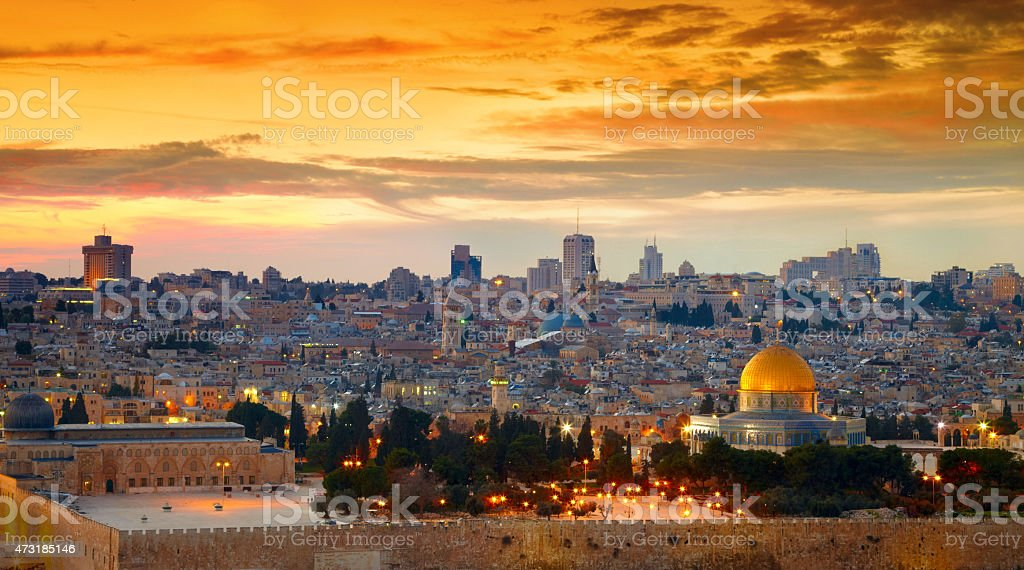 Panorama of Jerusalem old city. Israel stock photo