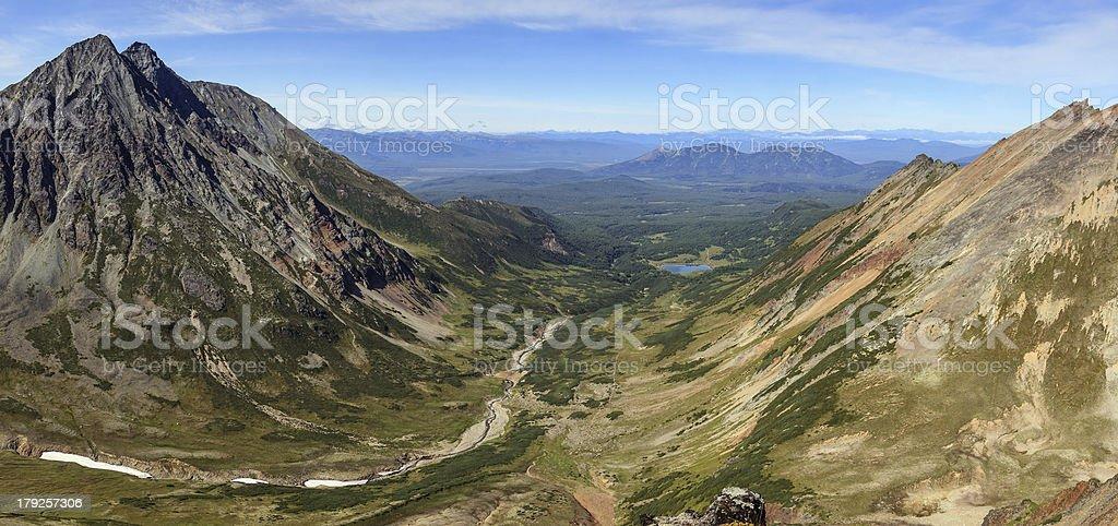 Panorama of Kamchatka landscape: Mountain range Vachkazhets royalty-free stock photo