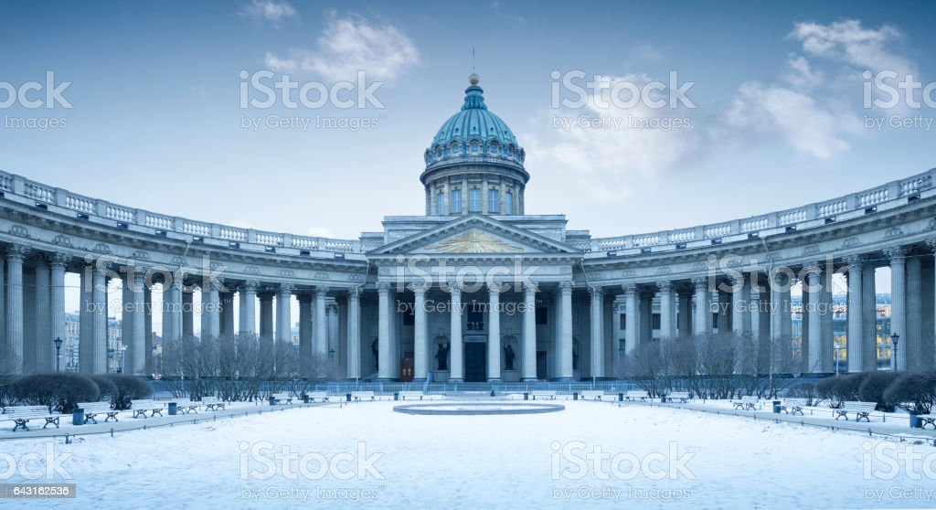 Panorama of Kazan Cathedral in winter, St. Petersburg, Russia stock photo