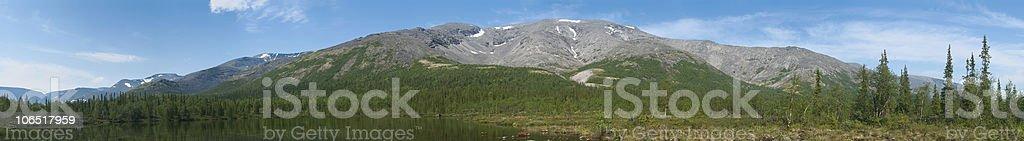 Panorama of Khibiny Massif in Kola Peninsula, Russia stock photo
