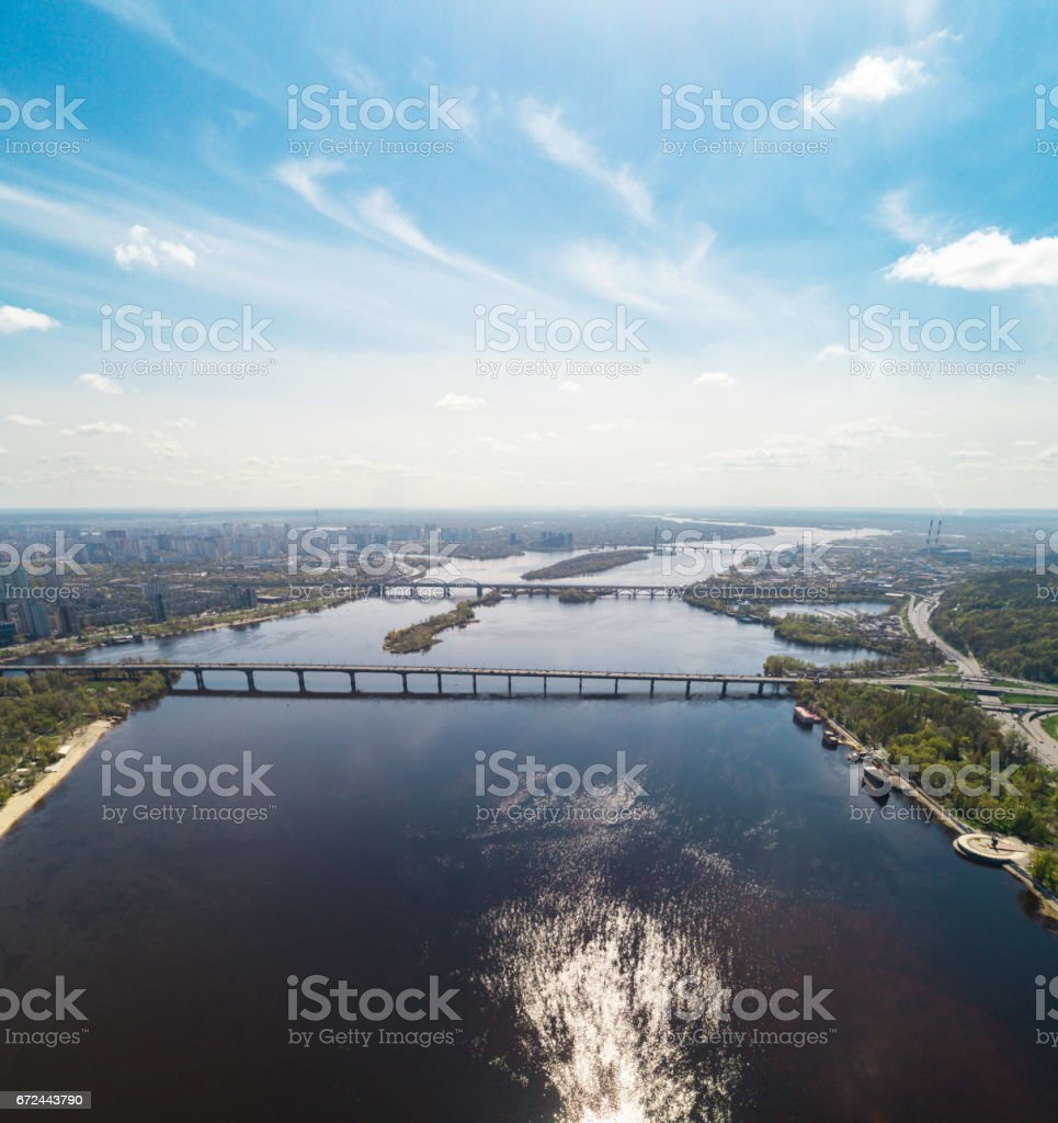 Panoramic view of the city of Kiev in the spring. View of the Dnieper...