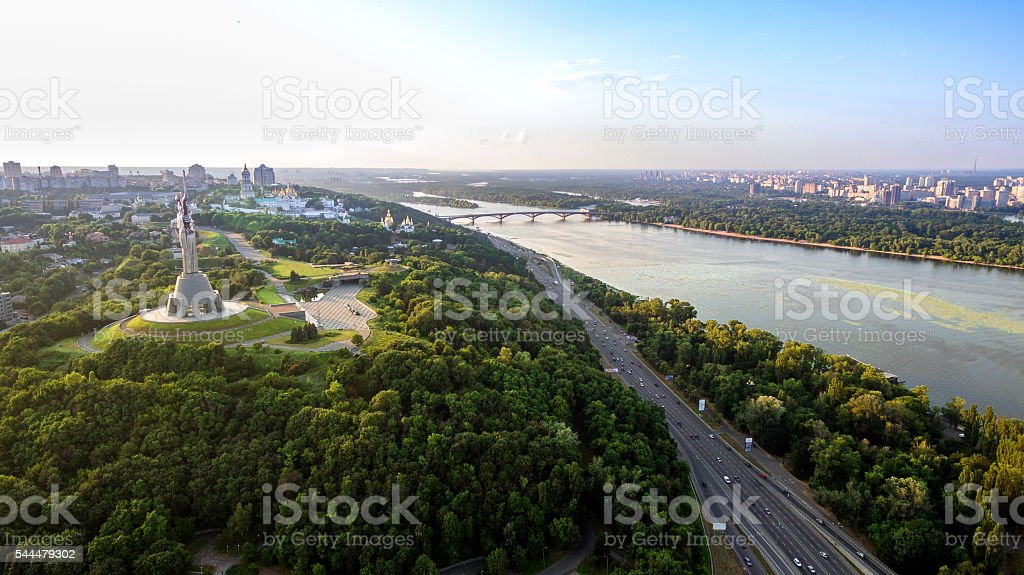 Panoramic view of the city of Kiev in the sunset from the bridge...