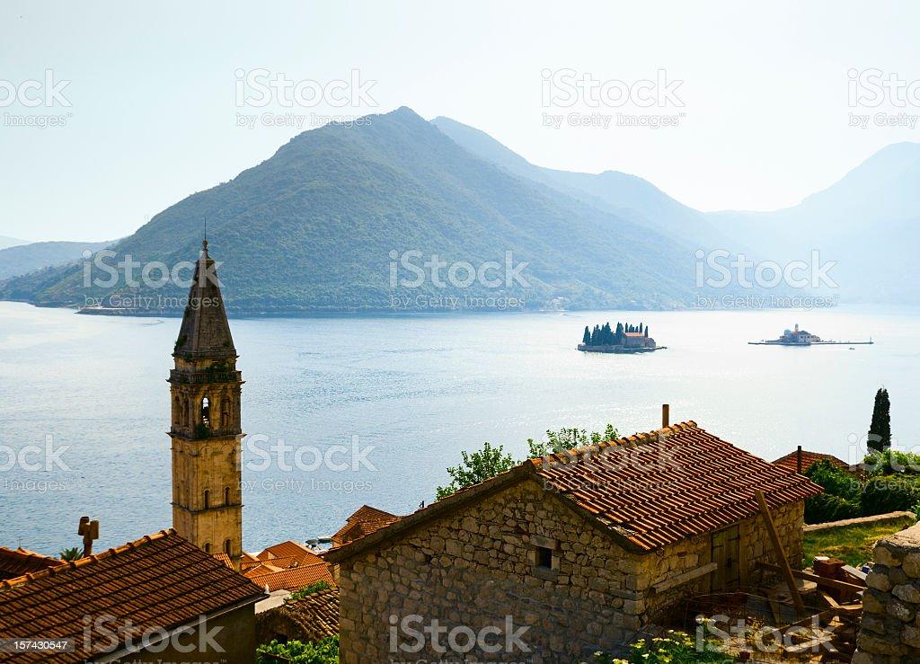 Panorama of Kotor Bay in Perast stock photo