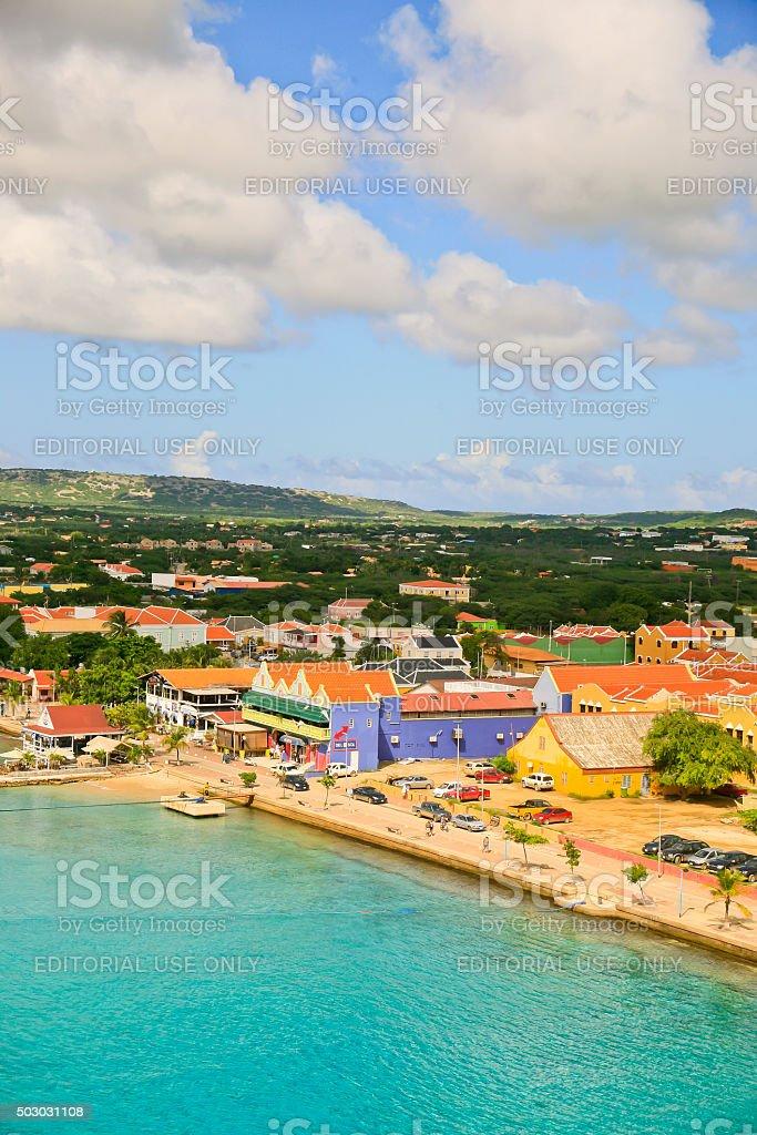 Panorama of Kralendijk, Bonaire stock photo