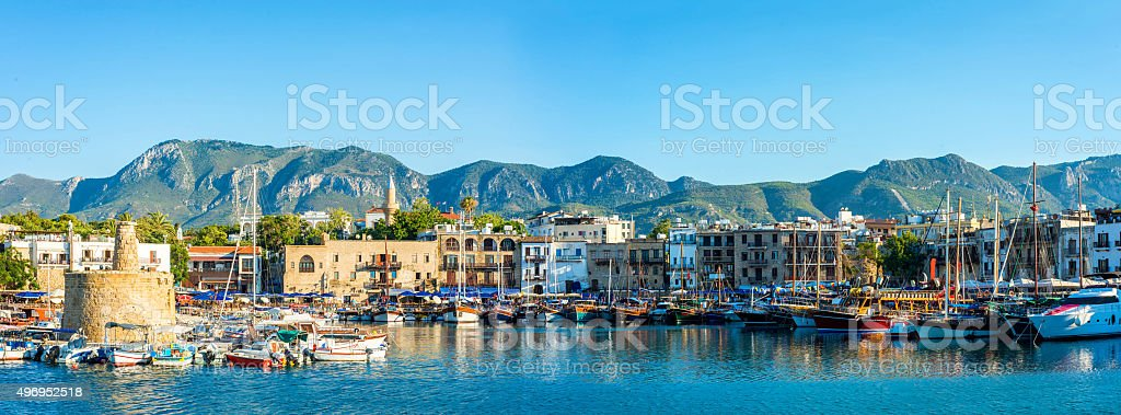 Panorama of Kyrenia harbour. Kyrenia (Girne), Cyprus stock photo