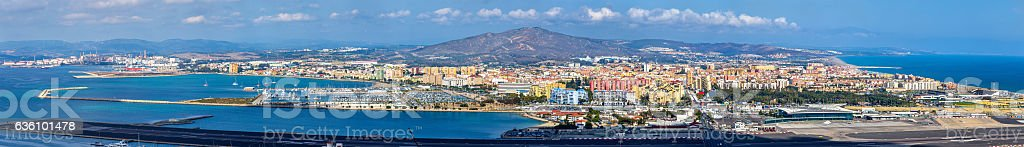 Panorama of La Linea and Gibraltar Airport stock photo