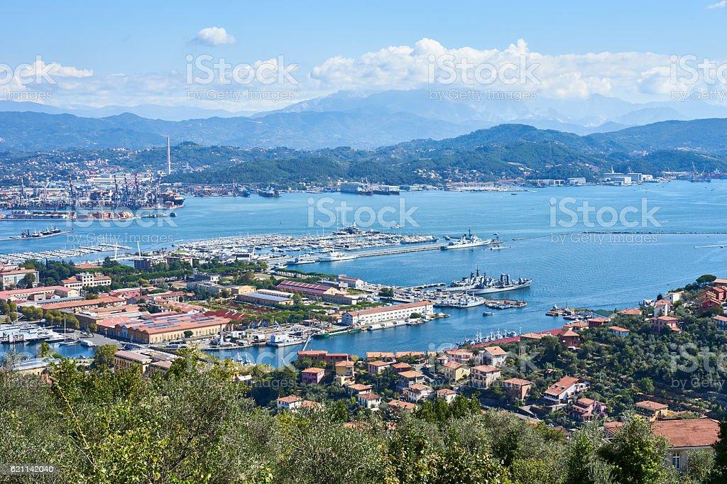 Panorama of La Spezzia in Italy stock photo
