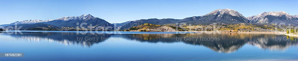 Panorama of Lake Dillon in the Colorado Rocky Mountains stock photo