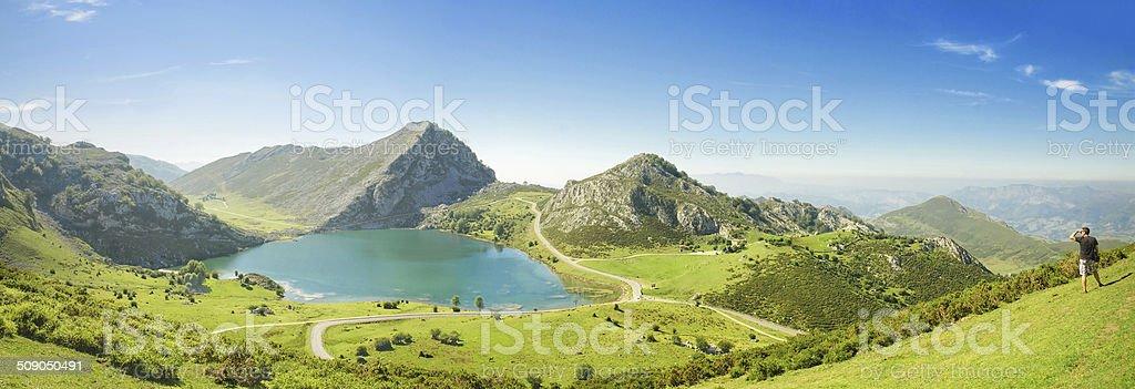 Panorama of Lake Enol and mountains, Picos de Europa, Spain stock photo
