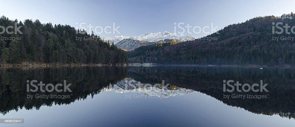 Panorama of Lake Hechtsee near Kufstein stock photo