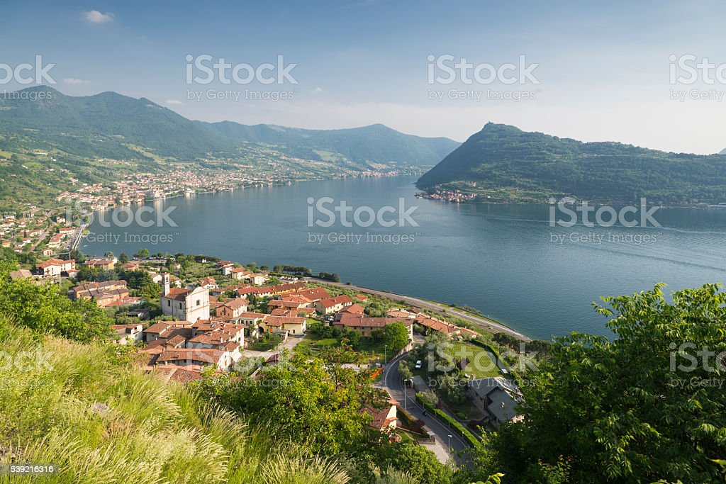 Panorama of Lake Iseo and Monte Isola island in Italy stock photo