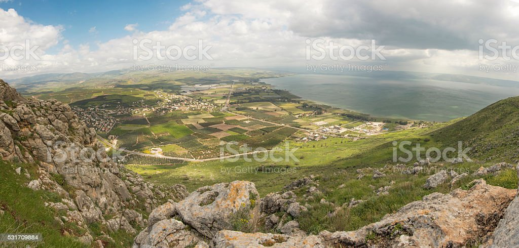 Panorama of Lake Kinneret of Israel's Tiberius stock photo