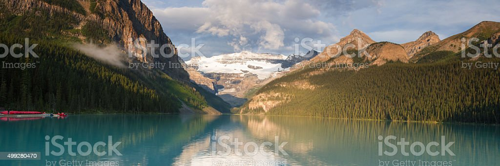 Panorama of Lake Louise stock photo