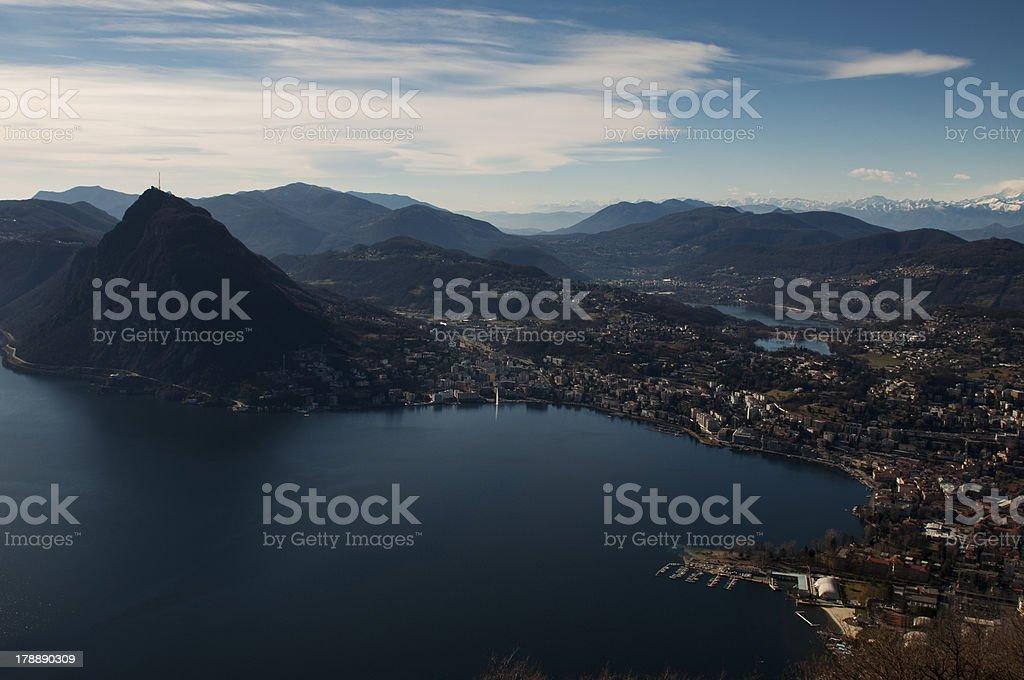 Panorama of Lake lugano royalty-free stock photo