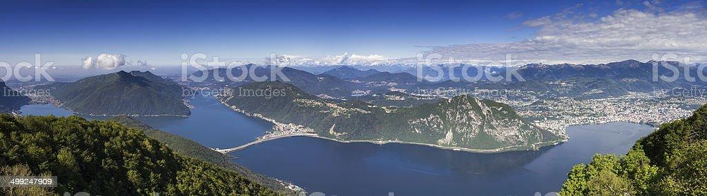 Panorama of Lake Lugano stock photo