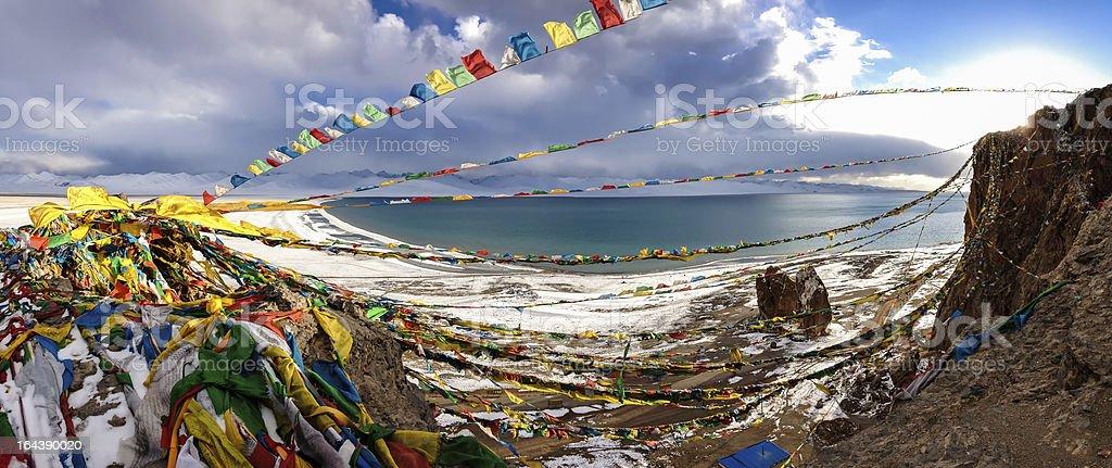 Panorama of Lake Namtso in Tibet. 4900 m. stock photo