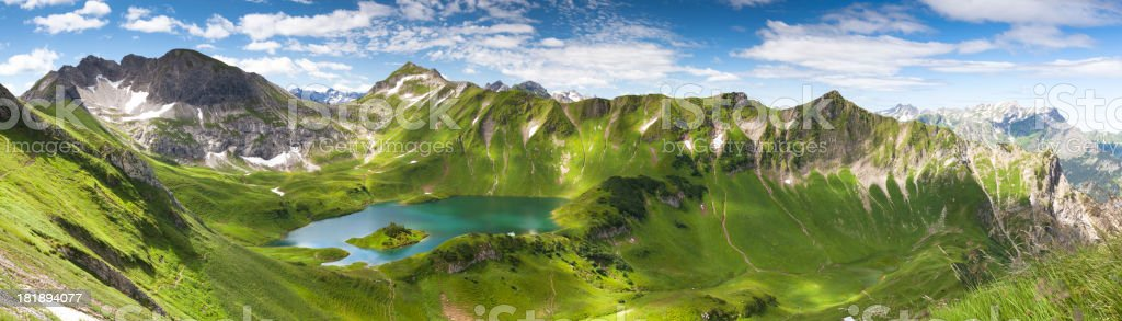 panorama of lake schreeksee in bavaria, allgau alps, germany stock photo