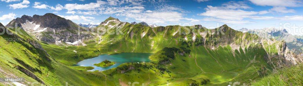 panorama of lake schreeksee in bavaria, allgau alps, germany stock photo