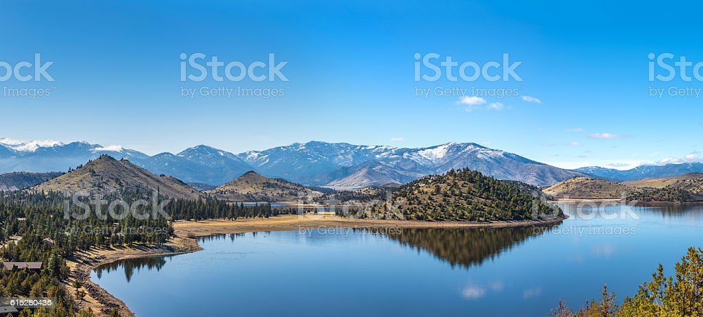 Panorama of Lake Shastina by Mount Shasta in California stock photo